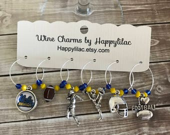 UCLA Wine Charms, Wine Glass Charms, Wine Charms, Beer Charms, Wine Accessory, UCLA, College Football, Bruins Football, UCLA Bruins, Bruins