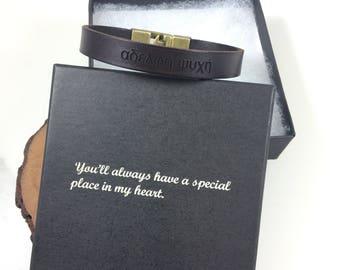 FREE SHIPPING-Hidden Message Bracelet, Bracelet For Men, Custom Men Bracelet,Personalize Leather Bracelet,Engraved Leather Wristband For Dad