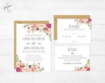 Floral Wedding Invitation Printable Wedding Invitation Suite Rustic Wedding Invite Boho Wedding Invite Peonies Wedding Invitation Lexi