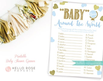 Baby Around the World . Baby in different languages . Blue and Gold Baby Shower Game . Printable Instant Download . Baby Boy Shower Games