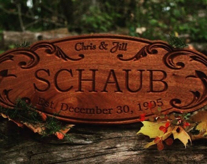 Personalized Wood Establish Custom Carved Family Name Sign Gift Engagement Last Name Sign Custom Wood Sign Carved Wood Sign Engagement Gift