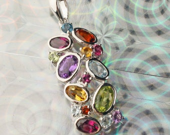 Sterling Silver London Blue Topaz, Brazilian Garnet, Amethyst, & Madeira Citrine Pendant for Necklace
