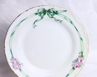 VSC Hand Painted Salad Plate with Silk Ribbon