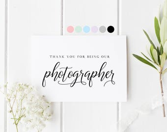 Photographer Thank You Card, Wedding Photographer Card, Thank You For Capturing Our Dar, Card For Wedding Photographer, Photographer Card