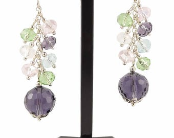 Silver 925 cluster earrings, Glass Beads Violet, Green, Pink and Blue