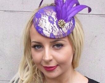 Gold Cadbury Purple Feather Pillbox Fascinator Hat Races Statement Wedding 3390