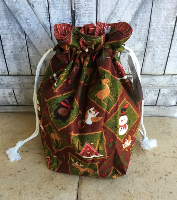 Knitting Project Bag|Cabin Christmas Drawstring Project Bag|Christmas Crochet Project Bag|Knitting Bag|Crochet Bag|Toad Hollow Bag|