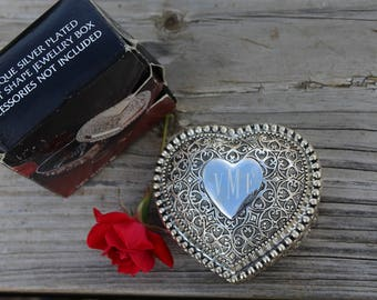 Antique Silver Plated, Nickel Plated Heart Shape Jewellry Box, Trinket