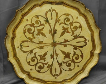 Old vintage Italian Florentine serving tray Italy