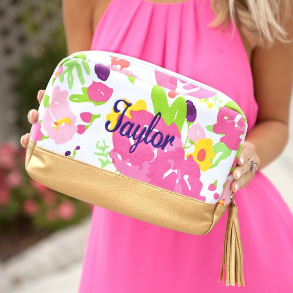 Monogrammed Makeup Bag Pink Floral Cosmetic Bag Monogrammed Bags Personalized Pink and Gold Makeup Bag Monogrammed Gifts Bridesmaid Gifts