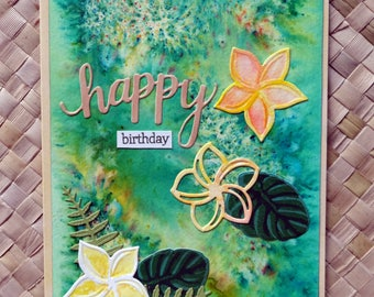 """Tropical birthday card with plumerias on watercolored background """"happy birthday"""""""