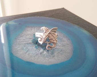 Vintage Dragon Sterling Silver Ring Size 7 3/4
