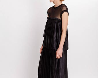 Elegant pleated  woman's dress / Long black pleated dress / Mesh detail unusual dress / Special occasion woman's dress / Fasada 17176