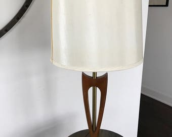 Vintage MID CENTURY LAMP With Shade, Wood And Metal Table Desk Lamp, 1960s  Lamp