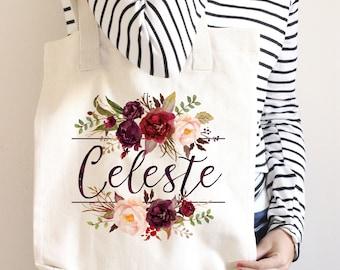 Bridesmaid Tote Bag, Marsala Personalized Tote Bag, Bridesmaid Tote Bag Sets, Bridal Party Tote Bags, Personalized Bridesmaid Bags, Wedding