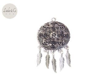 Pendant suspension 87x47mm silver feather Bohemian Native American Indian * pf4 019 *.