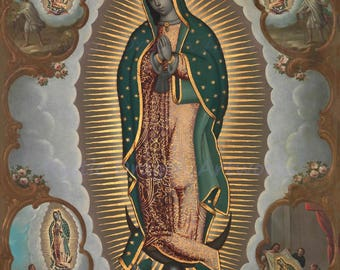 """Nicolás Enríquez """"The Virgin of Guadalupe with the Four Apparitions"""" 1773 Reproduction Print Blessed Virgin Mary Roman Catholic Mexico"""