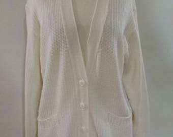 Vintage cardigan by Wahls of Sweden 80s white cotton mix striped Cardigan size small