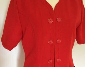 Vintage red dress 80s Franco Di Tardo Firenze Italy size small medium
