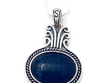 Blue Lapis Lazuli Pendant Necklace on Silver Chain, Lapis Lazuli Stone Necklace, Choose Your Chain Length, 18 inch, 24 inch, 28 inch,