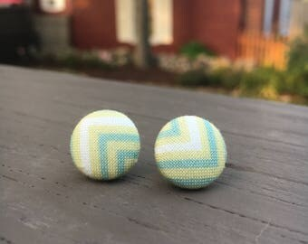 Fabric Button Earrings: VINTAGE CHEVRON