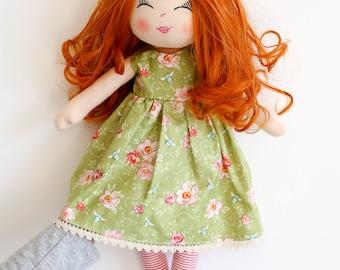 Cloth doll, rag doll, ginger hair doll, fabric doll, curly hair doll, birthday gift, girls gift, textile doll, dolls, Christmas gift