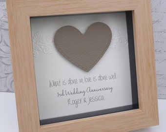 3rd anniversary gift, 3rd wedding anniversary gift, leather anniversary, leather anniversary present, 3rd leather gift, personalised frame
