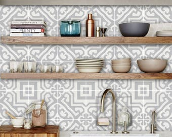 Tile Decals - Tiles for Kitchen/Bathroom Back splash - Floor decals - Alba in Chalk Grey