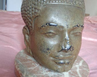 Antique Buddha Head in Plaster. Possibly Cambodia, Thailand, Vietnam. South East Asia.