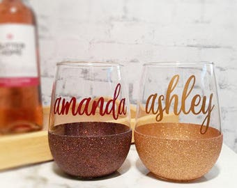 Spirits Sipper - Personalized wine glass - Glittered Wine Glass - Stemless wine glasses - Gifts For Friends- Wine lover gifts - glass