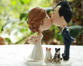 Custom Order for H. Cute couple kiss with pets. Wedding cake topper. Wedding figurine. Handmade. Fully customizable. Unique keepsake
