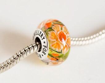 Artisan Lampwork beads. Silver core beads. Large hole bead, Fits Pandora. European Bracelet beads. Lampwork flower bead. Murano glass charm