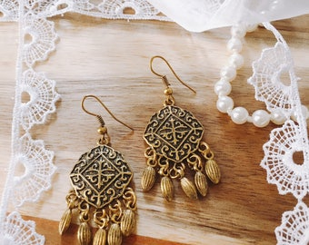 Gold Bronze bohemian earrings for her metal drops boho filigree earrings arabian earrings boho chic earring bohemian jewelry gift for her