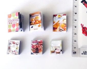 6 dollhouse miniature cooking books with recipes inside