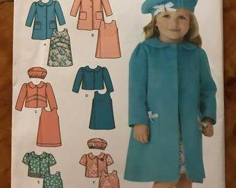 Simplicity 4712 - Little Girl's Sleeveless Dress, Coat, Jacket, and Berret - Size .5 1 2 3 4