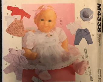"McCalls M4338 - Baby Doll Clothing with Jacket, Jumper, Romper, Dress, Top, Pants, Panties, Hat, Headband, and Booties - M 11-13"" L14-16"""