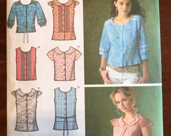 Simplicity 4179 - Button Front Top with Peter Pan Collar and Peplum Options - Size 6 8 10 12 14