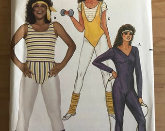 Butterick 6319 - 1980s Jayne Kennedy Excersise Outfit Collection with Bodysuit, Top, and Briefs - Size XL 20 22 Bust 42 44