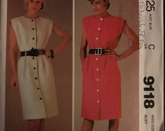 McCalls 9118 - 1980s Button Front Dress with Extended Shoulders and Straight Skirt with Side Seam Pockets - Size 14 Bust 36