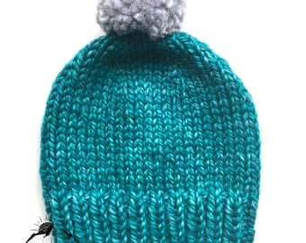Handknitted classic teal toque, big XL yarn knitted hat, knits for children, teenagers, adults pompom hat, teal hat made on wool and acrylic