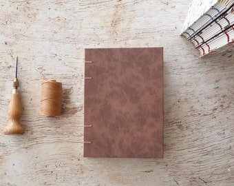 Brown Leather Coptic Notebook Coptic Journal Writing Journal Blank Book Hardcover Hand Bound Coptic Stitch 160 Lined Cream Pages