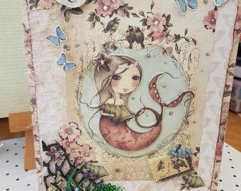 Mermaid birthday card, Greetings cards Handmade, Birthday card for little girls, Birthday card for a Teen, Birthday card
