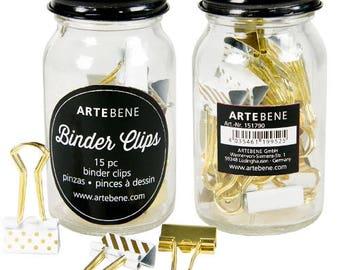 Artebene Planner addicts binder clips in a jar, Pretty Office Organisational Clips, My Journal Planner Clips, Gold and White Binder Clips
