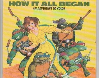 1988 unused tmnt coloring book 1st print uncolored teenage mutant ninja turtles an adventure to color - Tmnt Coloring Book