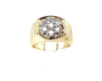 14k Yellow Gold Men's Diamond Ring Size 9 1/2 - Two Tone Gold Men's Ring