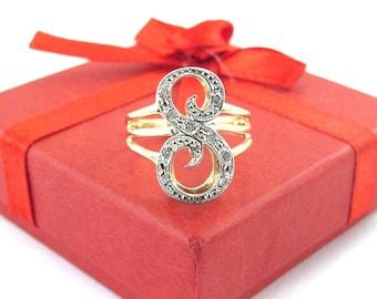 14k Yellow Gold S Initial Diamond Ring - 14k Yellow And White Gold S Ring - Diamond Letter S Ring Size 6 3/4