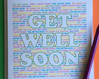 Get Well Soon card - greetings card - feel better soon - poorly - unwell