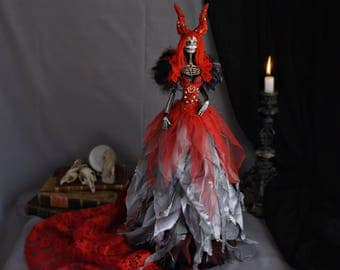 Gothic Art Doll: Seraphine. Day of the Dead. Articulated doll of terror, skeleton, sugar skull. Red she-devil.