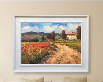 Landscape Painting Oil Painting Original Painting Canvas Art Impressionist Poppy Painting Tuscany Painting Landscape Art Agostino veroni