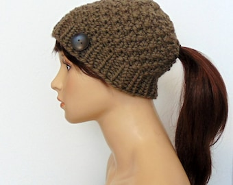 Ponytail Beanie - Ponytail Hat for Low Ponytail or Bun Hole Gift for Her Gift Under 30 - Traditional Low Ponytail Hat - Handmade in Alaska